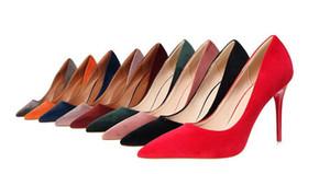 женская высокий каблук 8 см Meotina обувь женщины высокие каблуки насосы стадо острым носом женщины насосы Женская обувь тонкий высокий каблук большой синий фиолетовый