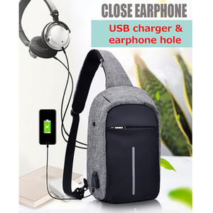 Mens External USB Charge Auricular Hole Canvas Backpack Crossbody Shoulder Bag Chest Pack Womens Mochila Satchel