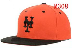 Установлены шляпы sunhat Mets Team Бейсбол вышитые команда письмо плоские поля шляпы бейсболки размер шапки бренды Спорт Chapeu для мужчин и женщин