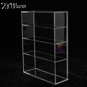 KiWarm High Gloss Acrylic Display Box витрину Раздвижные двери для мини-Perfume Bottle изделия ремесла Дисплей Для дома магазин декора
