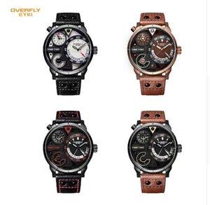 EYKI 남성의 군사 스포츠 시계 남성 정품 가죽 상자 방수 시간 날짜 석영 손목 시계 시계 시계
