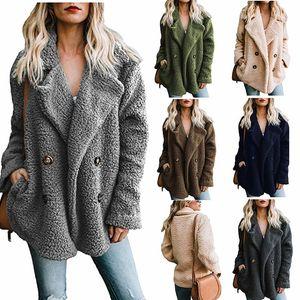 Kadın Moda Uzun Kollu Yaka Düğme Up Faux Shearling Shaggy Boy Ceket Ceket Cepler Sıcak Kış ile