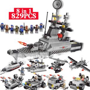 Çocuklar eğitici oyuncaklar Lepin teknik için bloklar 8 IN 1 Askeri Serisi Savaş gemisi modeli 3D DIY Meclisi yapıtaşları 0107 829pcs