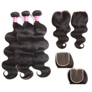 Corps brésilien vierge cheveux humains top dentelle fermeture milieu libre partie 4x4 avec pas cher 3 faisceaux de cheveux humains weave 8-26 pouces
