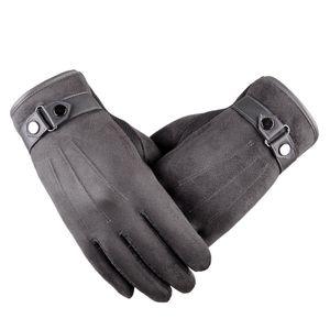 الرجال قفازات شاشة تعمل باللمس الخريف الشتاء بالإضافة إلى الكشمير سميكة الدافئة القفازات الجلدية الصوف اصطف الحرارية الذكور القيادة قفاز Mitaine