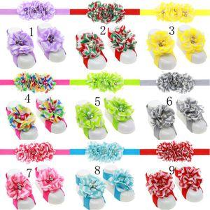 Scarpe Flower Flower con piede colorato + Set fascia per capelli con strass e campana Bambina bambini primi passi scarpe fotografia puntelli F14