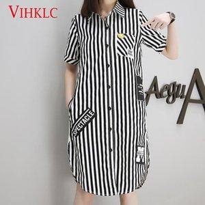 VIHKLC 2018 Nueva talla grande S-5XL raya Mujer Ropa Moda camisa suelta Solapa femenina Manga corta Camisa Casual Tops T110
