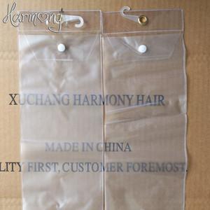 440 pcs sacos de plástico pvc para embalagem de extensão do cabelo sacos de embalagem transparente com cabide superior e botão inferior