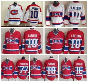 Homens Montreal Canadiens 16 Henri Richard Jérsei 18 Serge Savard 77 Pierre Turgeon 10 Jérsei clássico de Guy Lafleur Vintage Jerseys