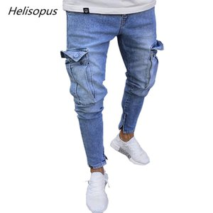 Helisopus Fashion Men Jeans Tactical Cargo Pants Multi Pockets Pencil Pants Straight Zipper Cut Denim Trousers