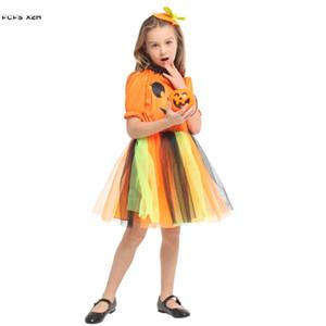 M-XL Arancione Ragazze gonna di zucca Halloween Strega Costumi Bambini Bambini Strega Cosplays Carnevale Purim Masquerade party dress