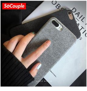 SoCouple Bez Doku Yumuşak TPU kılıf iphone 7 8 7/8 artı Kılıf Ultra-ince Tuval Silikon Telefon Kılıfları iphone 6 6 S Artı X