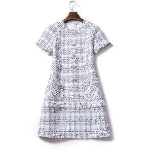 Lässige Winterkleid Frauen Mantel Plaid Woolen Kleider Bodycon Herbst Robe Femme 2018 Ete Tweed Büro Tube Kleid Vestido Vintage