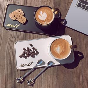 Grand cadeau d'anniversaire Blanc / noir 200ml Tasse à café Céramique avec cuillère et plateau Résistance à haute température