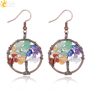 Csja Ventage Color Dangle Arranges For Women Round Tree of Life Ear Drop Natural Health Rainbow Gemstone Bead Classic Jewelle E529