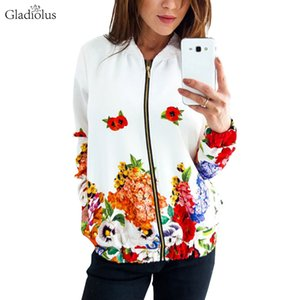 Gladiolus 2018 Autumn Jacket Women Coat Long Sleeve Stand Collar Floral Print Zipper Slim Bomber Jacket Women White Coats Tops