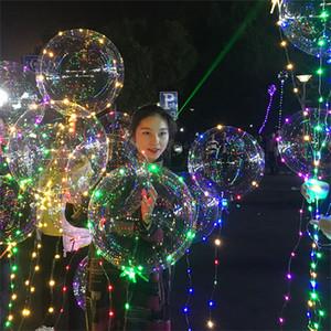 Couleur LED Light Up Ballons BOBO boule lumineuse Transparent ballon avec 3M Guirlandes d'onde de fête d'anniversaire de mariage Décoration 03