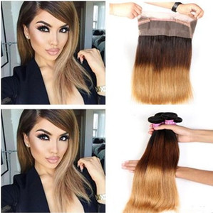 1B 4 27 Honey Blonde Three Tone Ombre Peruvian Straight Human Hair 3Bundles With Pre Plucked 22.5x4x2 360 Full Lace Band Frontal