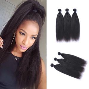 Peruana Kinky em linha reta 100% não processado Virgin cabelo humano tece Remy Cabelo Humano Extensões Humano tece cabelo Dyeable 3 pacotes