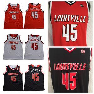 Mens Louisville Cardeais Donovan Mitchell Faculdade Basquete Camisas Baratos Vermelho # 45 Preto Donovan Mitchell Costurado Universidade Camisas S-XXL
