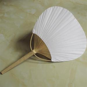 Ventiladores em branco frente e verso do ventilador do papel do número grande com quadro de bambu e punho Presentes da festa de casamento da pintura da caligrafia do branco 3qx ff
