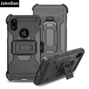 Johndan For Apple Iphone 6 6s 7 8 Plus 5s Se Pc +Silicone Anti Shock Strong Outdoor Belt Clip Tough Armor Case For Iphone X Cover