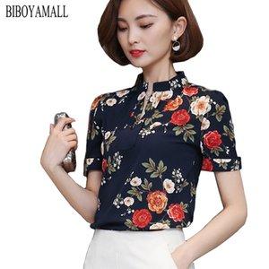 BIBOYAMALL женщины блузки 2017 повседневная элегантный шифон блузка с коротким рукавом рабочая одежда Blusas топы рубашки плюс размер XXXL черный