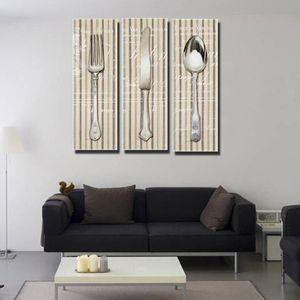 Unframed 3 Pcs / set 포크 나이프 스푼 주방 도구 Art Decoration Canvas Prints에 캔버스 벽 포스터 회화