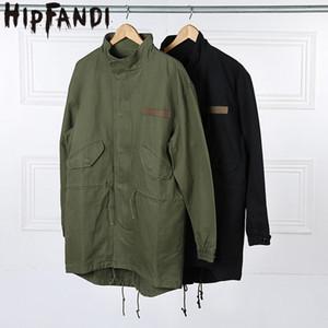 HIPFANDI 2017 moda coreana vendita calda Giappone degli uomini cappotto soprabito Kanye West lungo stile militare europeo trench coat uomini