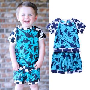 Мальчики динозавр синий одежда топы+короткие 2 шт. Набор крест Pattern младенческой Baby повседневная одежда малыша летние дети спортивная