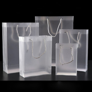 Sac de PVC transparent givré avec la poignée 7 sacs en plastique de taille pour le paquet de cadeau de faveur de mariage