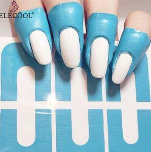 ELECOOL 10pcs Chiodo a forma di U forma guida Adesivo smalto per unghie Adesivo per protettore Manicure Strumento Copri dito antispruzzo