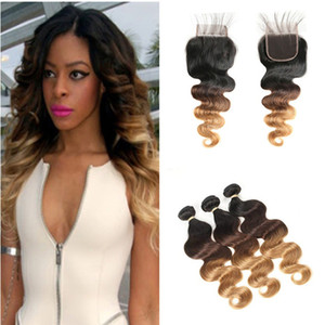 Honey Blonde Ombre Lace Closure 4x4 con bundles Body Wave 1B 4 27 Light Brown Blonde Ombre Peruvian Virgin Hair Trajes con cierre