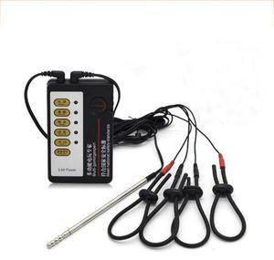 Electro Shock Anello del pene Cock Ring Stimolatore elettrico Suoni uretrali Spina del pene Scossa elettrica Giocattolo giocattolo Kit per uomo