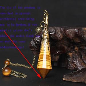 1 Unid. Dinero Abundancia Piedra Ojo de Tigre Natural Cristal Péndulo Fianza de Cobre y Cadena Brujería Para Dowsing, Adivinación, Intuición Lectura