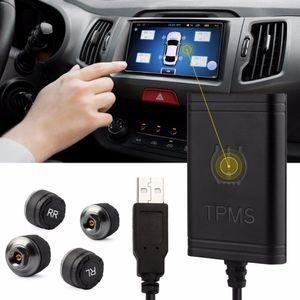 Allarme di sicurezza per monitor della pressione dei pneumatici Bluetooth Car DVD Player TPMS Monitoraggio della pressione dei pneumatici Con 4 sensori interni / esterni