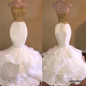 Sexy GoldenWhite Mermaid Prom Dresses Spaghetti Strap apliques de renda Ruffles Tiered vestido de festa Moda Backless Africano Prom Dress
