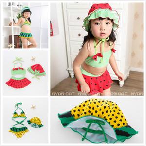 New Summer Girls Bikini Watermelon 2 Disegni Black Dot Stampa due pezzi Halter Hanging Neck Costume da bagno con cappelli Spa Swimwear