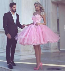Charme rosa breve vestito da promenade gonna di tulle al ginocchio lunghezza pizzo appliqued cocktail abiti da festa di ritorno a casa su misura