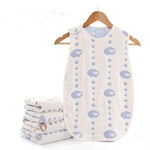 Pure Cotton Gauze Infant Sleeping Bag Envelope Baby Defence Kick Quilt Blanket Swadding Animal Cartoon Bedding Sleepsack
