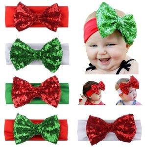Noel Bebek Kız Sequins Ilmek Kafa Çocuk Hairbow Bantlar Bebek Çocuk Hairbands Çocuk Saç Aksesuarı 5 Renkler