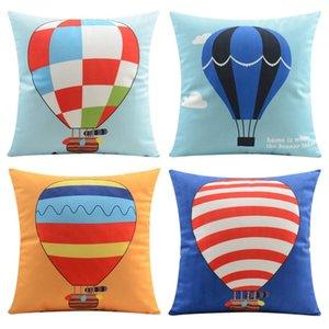 Watercolor Fire Balloon Cushion Covers Blue Sky Travel Ballon Soft Pillow Cover 5 Styles 45X45cm 30X50cm Bedroom Sofa Decor