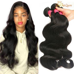 GAGA Queen Grade 8A Индийская волна тела Девы человеческие наращивания волос 3 Пакета Необработанные бразильские перуанские индийские девственницы REMY