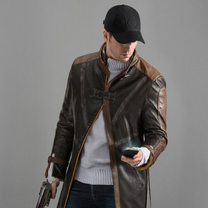 Watch Dogs Aiden Pearce Giacca in pelle marrone, giacca costume cosplay