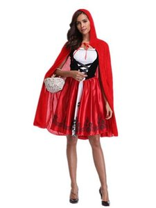 Red Hat Ladies Girl Cosply Wear Claok + Dresses Halloween Party Club Dresses Festival Theme Costume