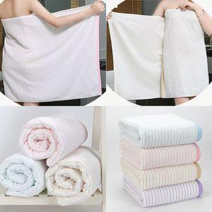 Nouveau coton serviette de bain Lady filles SPA Sexy serviette de douche Stripe Body Wrap Bath Robe Beach Spa peignoirs Accueil Hôtel Fournitures 140 * 70 cm WX9-1053