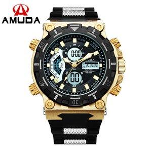 Amuda ouro Relogio Masculino Top Mens Relógios Analog-Digital Dual Display Masculino Relógio de pulso Led Esporte Homens Relógio