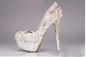 Branco marfim Rhinestone beading 10/12/14 cm polegadas saltos de noiva de luxo designer saltos altos sapatos sapatos de casamento Sapatos de mujer Botas Sandálias