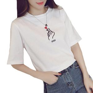 Tshirt Mulheres 2018 Verão Casual T Shirt Das Senhoras de Manga Curta Blusa Dos Desenhos Animados Amor Coração Impressão Tee Tops Feminino Branco Tees