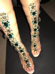 2018 Seksi Pvc Şeffaf Gladyatör Sandalet Kadın Burnu açık T-kayışı Taklidi Elmas Net Yüksek Topuk Ayakkabı Kadın Yaz Çizmeler